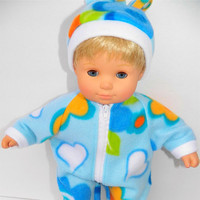 """American Girl Bitty Baby Clothes 15"""" Doll Clothes Light Blue Floral Polar Fleece Zip Up Pajamas and Hat"""