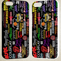 All Logo Band Collage F0089 iPhone 4S 5S 5C 6 6Plus, iPod 4 5, LG G2 G3, Sony Z2 Case