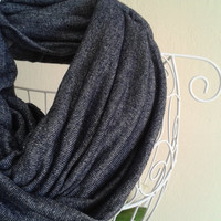 Combed Cotton Navy Blue-White Infinity Scarf/Jeans Looking Infinity Scarf/Soft Scarf/Infinity Scarf/Sports Style Scarf/Cool Scarf