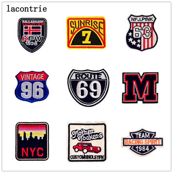 1 PCS Embroidered Letters Patch Digital School Wind Stickers for Clothes Free Shipping Patches for Clothing Parches Bordados
