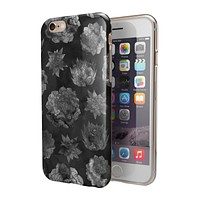 Black Floral Succulents 2-Piece Hybrid INK-Fuzed Case for the iPhone 6/6s or 6/6s Plus