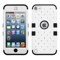 Thousand Eight(TM) iPod touch 5 (5th generation) Heavy Duty Defender Tuff Hybrid Hard Case With Kickstand Case + [FREE Touch Screen Stylus] (Diamond Ivory White/Black)