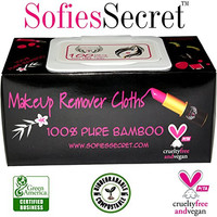 SofiesSecret Makeup Remover Facial Cloths 100 Count 100% Organic Extracts & Pure Bamboo, Extra Thick, Biodegradable, Recyclable, Eco-friendly, Cruelty Free & Vegan