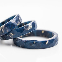 Midnight Blue Resin Indigo Stacking Ring Gold Flakes Thin Faceted Ring OOAK navy blue glam minimalist jewelry deep blue