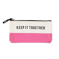 Keep It Together Pink Colorblock Canvas Cute/Cool/Best Zipper Pencil Case/Pouch/Holder/Pen Bag/Holder
