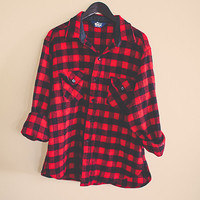 Vintage Buffalo Plaid Wool Thick Wool Woolrich Jacket Hipster Chic Preppy Red  and black Lumberjack Retro Logger Chic Size Unisex Large