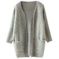Autumn Cuff Sleeve Open Front with Twin Pocket Cardigan Sweater