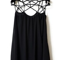 Sheinside Women's Black Girl Cut Out Shift Chiffon Mini Dress (S, Black)