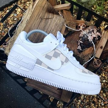 Nike WMNS Air Force 1 x Louis Vuitton LV new plaid print couple low-top sneakers Shoes