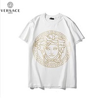 Versace Fashion New Summer Bust Human Head Print Women Men Top T-Shirt White