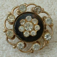 Whitby Jet Small Openwork Rhinestone Victorian Floral Brooch Pin Vintage Jewelry
