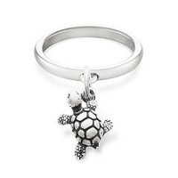 Smooth Dangle Ring with Turtle Charm | James Avery