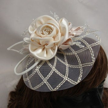 Wedding Fascinator Ivory Mohair Hat with  Headband