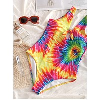 One piece fireworks slim swimsuit swimsuit for women