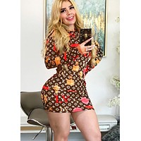 LV Louis Vuitton Newest Popular Women Print Long Sleeve Slim Dress Coffee