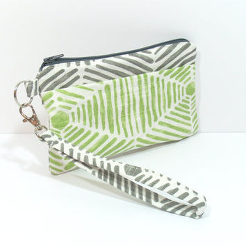 Green and Gray Wristlet Phone Clutch, Clutch for Phone, Cell Phone Clutch, Summer Phone Bag, Carry Clutch Bag, iPhone Wristlet, Zippered Bag