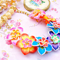 Colorful Summer Necklace, Polymer Clay Tropical Flower Necklace, Hawaiian Blue Orange Yellow Pink Lei Necklace, Polymer Clay Jewelry, Summer