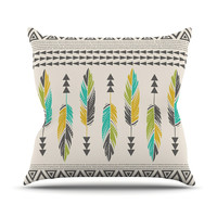 "Amanda Lane ""Painted Feathers Cream"" Tan TribalThrow Pillow, 16"" x 16"" - Outlet Item"