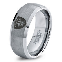 Oakland Raiders Ring Mens Fanatic NFL Sports Football Boys Girls Womens NFL Jewelry Fathers Day Gift Tungsten Carbide 007