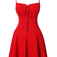 Red Spaghetti Strap Lace Up Front Skater Dress