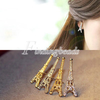 Fashion Women Ladies Vintage Eiffel Tower Ear Stud Earrings Gold/Silver Choose