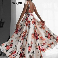 Plus Size Women Summer Print Beach Dress Bohemian Sexy Elegant Party Backless Maxi Dress