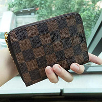 Louis Vuitton LV Hot Sale Zipper Clutch Bag Wristlet Wallet Purse Square Wallet