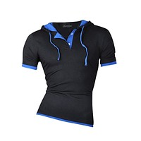 Men New Summer Dress short Sleeve Casual Solid hoodie T-shirt  Slim Fit T-shirt Fashion clothing 4 Colors