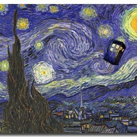 Doctor Who Art Silk Poster Print 13x18 or 24x32 inches Starry Night with Tardis