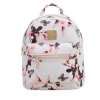 Fashin Women Lovely PU leather Backpack Causal Floral Printing Ziiper Bag College School Book Bag Computer Phone Shoulder Bag