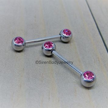 "Nipple piercing bars 14 forward facing pink gemstones 5/8"" length pair straight barbells"