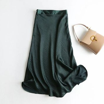 Withered england style office lady simple solid satin elegant summer midi skirt women faldas mujer moda 2020 long skirts womens