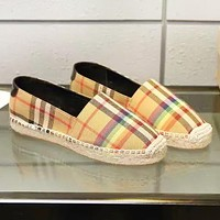 Burberry New fashion plaid high quality weave shoes women