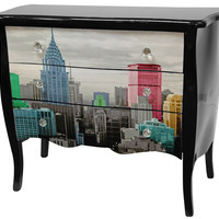 Oriental Furniture Lacquer Colorful New York City 3 Drawer Cabinet