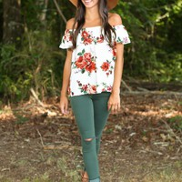 Love Me True White Floral Print Top