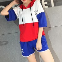 Fashion Casual Multicolor Letter Print Short Sleeve Hooded Sweater Set Two-Piece Sportswear