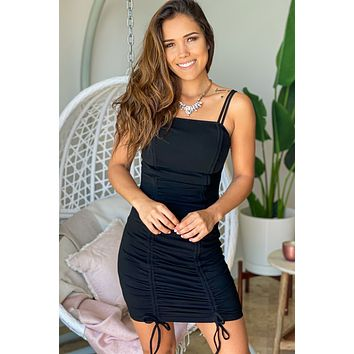 Black Ribbed Short Dress with Pull Strings