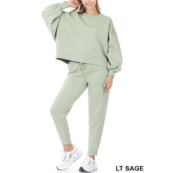 Round Neck Balloon Sleeve Sweatshirt and Elastic Waist Sweatpants Set