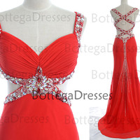 Red Prom Dresses, Sexy Prom Gown, Straps with Crystal Long Chiffon Red Prom Dresses, Wedding Party Dresses, Long Prom Gown, Formal Dresses