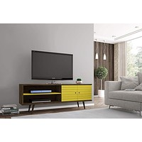 """62.99"""" Mid Century - Modern TV Stand w/ 3 Shelves & 2 Doors w/ Solid Wood Legs-Brown, Yellow"""