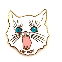 "CRY BABY- 1"" White Hard Enamel Gold Lapel Pin Brooch"