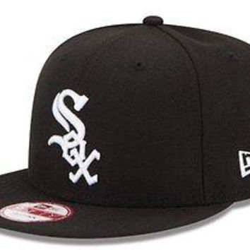 Chicago White Sox New Era 9FIFTY MLB Baycik Snap Snapback Hat Cap M/L Black 950