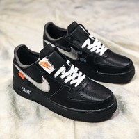 Off White X Nike Air Force 1 Low Black White Sport Shoes - Best Online Sale
