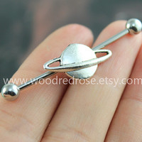 Industrial Barbell With Silver Saturn Body Jewelry Ear Jewelry Double Piercing,Saturn Belly Button Rings, Saturn earring