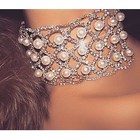 Fashion exaggerated new wide-edged diamond pearl hollow mesh multi-layer choker necklace