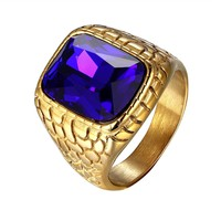 Mens Square Blue Stone Nugget Design Steel Ring