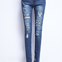 Cotton Ripped Holes Pen Jeans [73421684762]