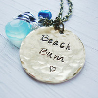 Beach bum brass hand stamped necklace with freshwater pearl and aqua chalcedony briolette