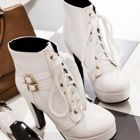 New White Round Toe Chunky Double Buckle Casual Ankle Boots