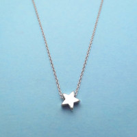 Petit Star, Tiny, Silver Star, Necklace, Everyday, Jewelry, For Her